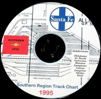 Atchison Topeka & Santa Fe 1995 Southern Region Track Chart PDF Pages on DVD