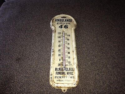 Vintage Mckee Clark Funeral Home furniture thermometer Avilla Indiana thadco