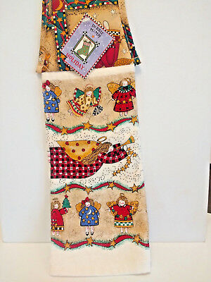 Christmas Kitchen Hand Dish Towel Folk Art Angels Hanging Debbie Mumm NWT Unused