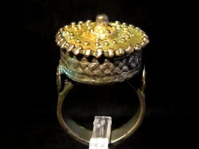 Superb Post Byzantine Huge Silver Rex Ring, Gilt On The Top+++