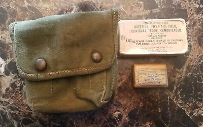 WW2 US Military USMC Army PTO Jungle First Aid Kit Pouch Early 1944 WWII Canvas