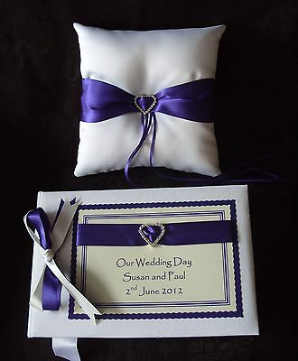 Wedding Guest Book and Ring Cushion Various Ribbon Colours 1