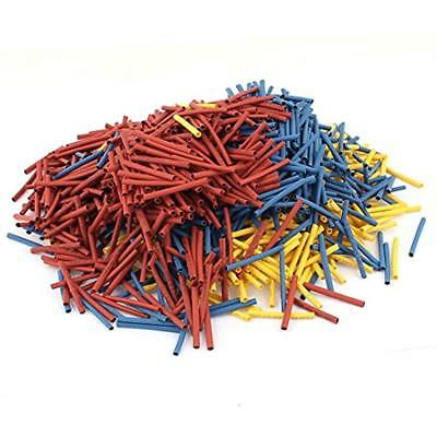 1500Pcs 2mm 2:1 Heat Shrink Tube Sleeving Wrap Wire Red Yellow Blue