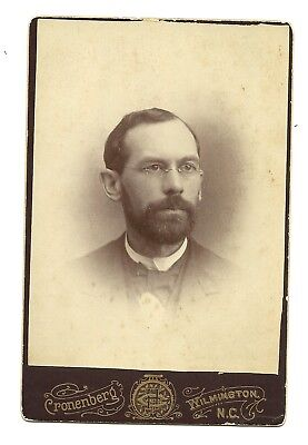 1800s WILMINGTON NC CABINET CARD TAKEN BY CRONENBERG - DIGNIFIED MAN - GLASSES