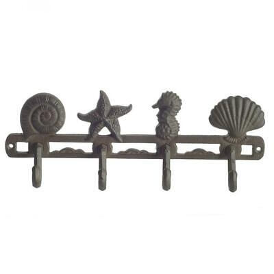 Vintage Seashell Coat Hook Hanger by Comfify | Rustic Cast Iron Rust Brown