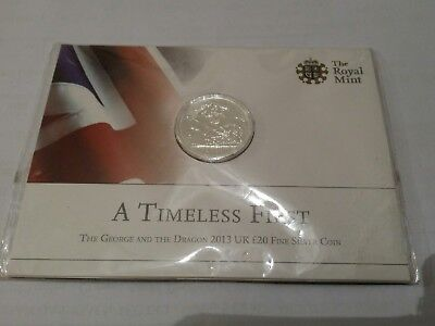 The Royal Mint St George and the Dragon 2013 UK £20 Fine Silver Coin New Sealed