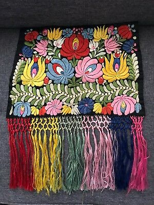 Antique Vintage Silk Embroidery Thread Hand Made Art Hungarian Matyo Fringe