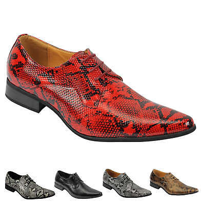 Mens Leather Lined Snake Skin Print Shiny Patent Leather Smart Party Retro Shoes