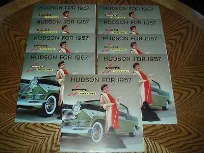 (9) ORIGINAL 1957 AMC HUDSON/HORNET SALES BROCHURES - Hornet 4 Page Fold Out