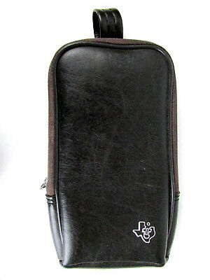 Vintage Texas Instruments 7 x 4 x 1 Leather Zippered Carrying Case w/ Belt Clip