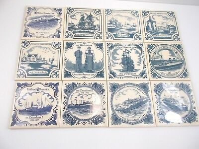 Holland America Lines Blue Deleft Tile Coasters Lot of 12 No Duplicates 4 Inch