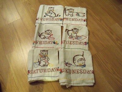 6 Days-of-Week Vintage Hand-Embroidered Kitchen Towels - Cats/Kittens