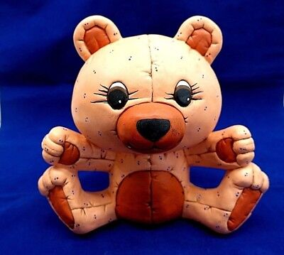 Vintage Rob Roy Hand Painted Collectible Ceramic Pink Teddy Bear Money Coin Bank