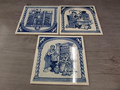 Lot Of 3 Delft Blue Holland Hand Painted Tiles Made In Germany
