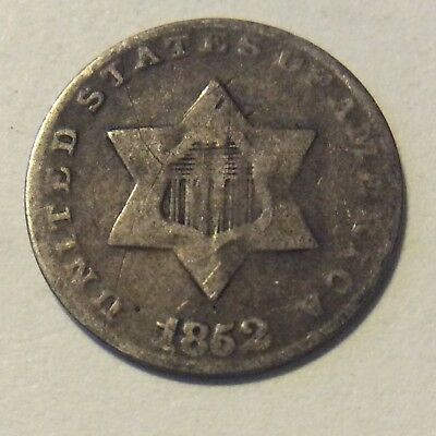 1852 Silver Three Cent Piece (Trime)  I-486 Free Shipping