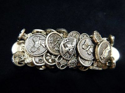 Vintage Bracelet Expandable Made of Silver Tone Buttons