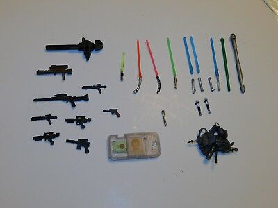 Mixed Lot OF Vintage Accessories Star Wars metal lightsabers weapons guns more