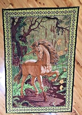 "Vtg UNICORN and SNAKE Tapestry ATC NY lightweight printed cotton 36"" x 54"" MINT!"