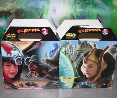 Star Wars 1 Phantom Menace KFC Kid Meal Box Anakin Watto Yoda Amidala Lucasfilm.