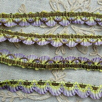 Antique Ruffled and Scalloped Ombre Ribbon Trim Gold Metal Threads