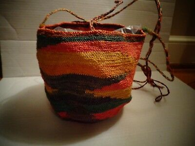 Vintage Ecuadorean Multi Color Shigra Bag Andes Ecuador South America