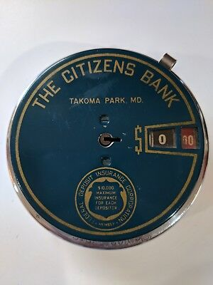 Vintage Citizens Bank Add-A-Coin Metal Advertising Bank     47400