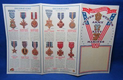 WWII Army Navy USMC Decorations, Ribbons, Insignia, Pay Scale Color Booklet