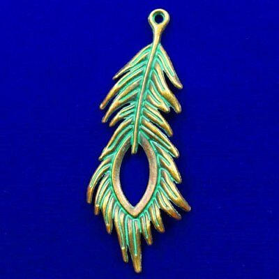 Carved Brass Bronze Feather Pendant Bead 70x27x3mm L59515