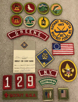 Vintage Lot of 18 Cub/Boy Scout Patches & 2 Belt Loop Awards