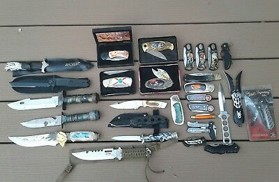 (30) Vintage Pocket Knives And Fixed Blade Collectible Knives Dale Earnhardt