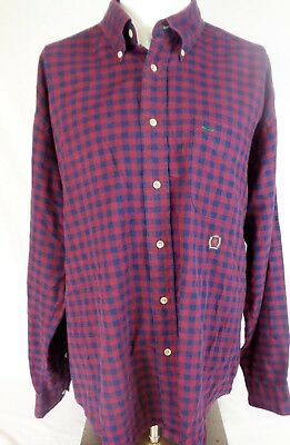 f82ccaa4c Tommy Hilfiger Mens Vintage Flannel Shirt Plaid Checked Purple Blues Size  Large