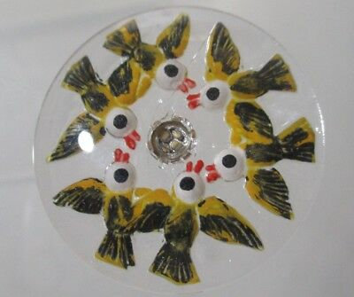 Fun Clear Glass Button Of Reverse Painted Birds In Circle Looking Up With 1 Eye