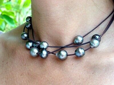 Triple layer collar choker Tahitian gray black baroque pearl necklace leather