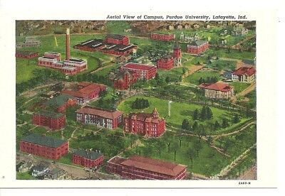 Postcard INDIANA  Lafayette Purdue University Aerial View of Campus