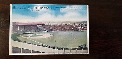 1917 Boston Braves Field Baseball Stadium Postcard – Rare View