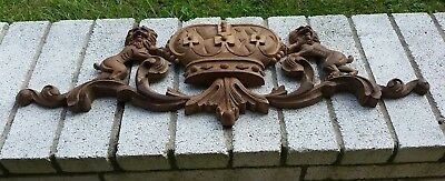 Antique Standing Roaring Lion, Crown, Scrollwork Carved Wood Panel or Onlay