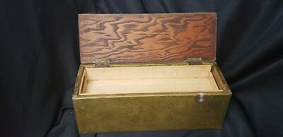 Antique English Hammered Brass Over Wood Box w/Tray Medical Trinket Jewelry