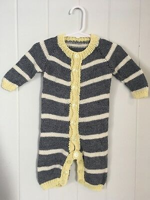 Vintage Knitted Baby Romper Size 0-3 Or 6 Months