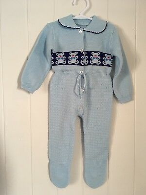 Vintage 1960s 1970s Knitted Baby Romper Size 3-6 Months