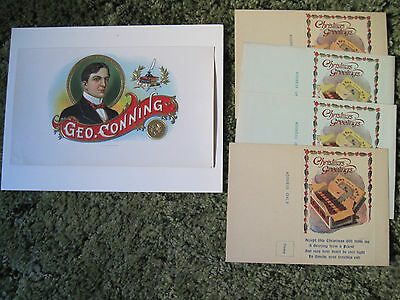 4 Vintage Cigar-Themed Christmas Cards + 1 Embossed Cigar Box Label Geo. Conning