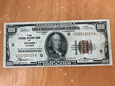 1929 $100 national bank note/ Chicago