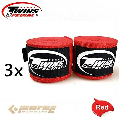 3x Pairs Boxing Hand Wraps TWINS Kick Boxing MMA UFC Muay Thai 100% Cotton Red