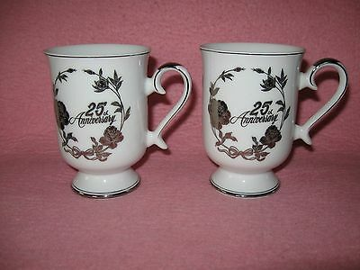 2 ~ 25th Anniversary Mug Cup Norcrest Chatillon Fine Porcelain crafted in Japan