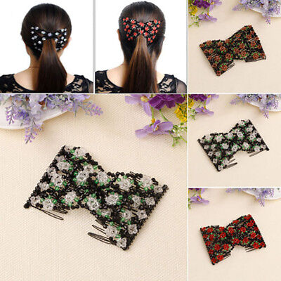 Charming Flower Bow Glass Beads Double Hair Comb Clip Elasticity Stretchy Magic