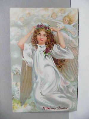 Pc- 164 Christmas Postcard - Undivided Back With Angels