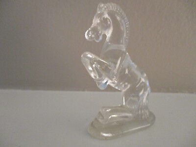 Vintage Miniature Rearing Clear Glass Horse Marked S C Figurine Statue 2 1/2""