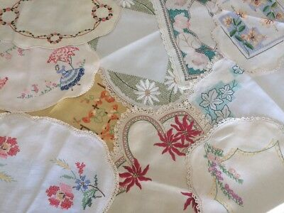 Lot Of 10 Large Vintage Doilies - Hand Embroidered - Centre Pieces