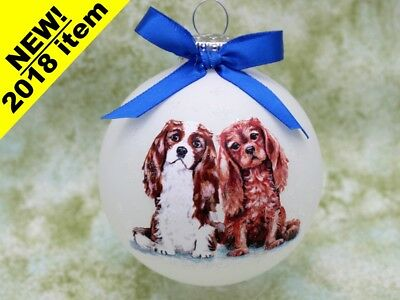 D074 Hand-made Christmas Ornament dog Cavalier King Charles Spaniel Blenheim Rub