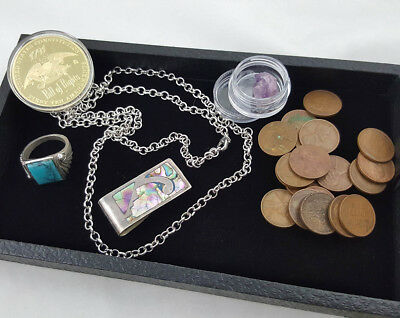Mens Estate Junk Drawer Lot Gold Coin Ring Chain Money Clip Amethyst Old Pennies