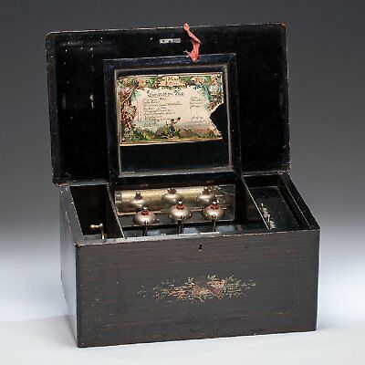 ANTIQUE BEAUTIFUL 8 TUNE WORKING SWISS MUSIC BOX WITH BELLS 19th Century